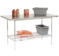 Stainless Steel Top Wire Shelf Workbenches
