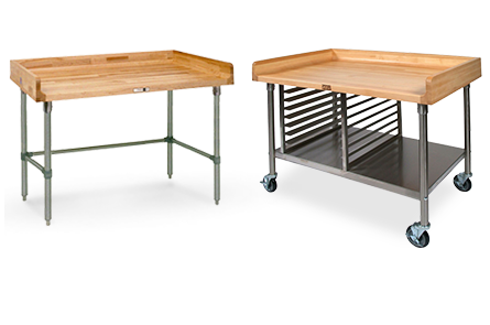 Stainless Steel Frame Work Tables with Wood Tops