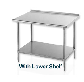 "Work Table, 30""D Top W/Turned Up Edge At Rear, 84""W, W/Adjustable Undershelf, S/S Frame"