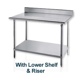 "Work Table, 30""D Top, W/Splash At Rear Only, 84"" Width, W/Adjustable Undershelf, S/S Frame"