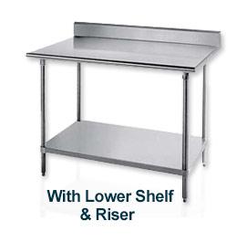 """Table de travail, 30 """"D Top W/Splash à l'arrière seulement, 84», largeur, W/réglable ajustable, cadre de s/s"""