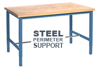 Workbench with Square Tubular Adjustable Height Legs