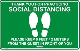 Signe vert de plancher de distanciation social