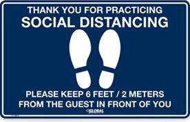Signe bleu de plancher de distanciation social