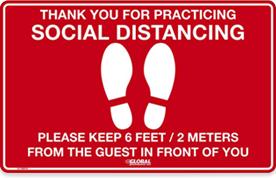 Signe de plancher social rouge de distanciation